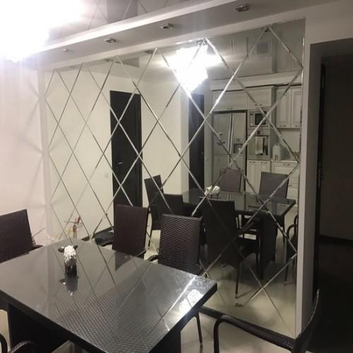 Зеркальное панно на кухню с фацетом