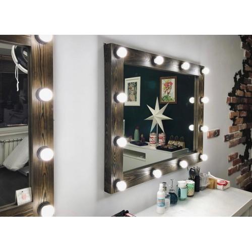 Зеркало лофт настенное с подсветкой 80х90